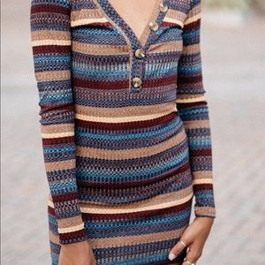 NWT Urban Outfitters Long Sleeve Henley Mini Dress